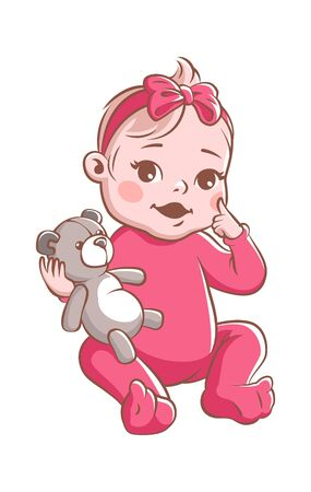 Baby girl. Cute infant with bear toy, smiling toddler in pink clothes sitting. Happy child vector illustration isolated on white background