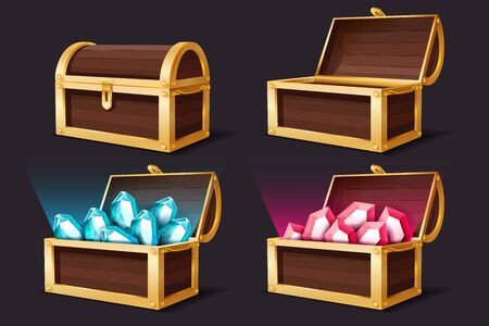 Treasure chest. Closed and open gold chests with gems jewelry. Medieval mystery pirate treasures ruby and topaz illustration for game cartoon vector set