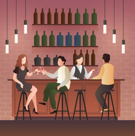 Bar counter. Man and woman on date with drink in bar, People sitting on the chairs in a pub and drinking beer and wine artoon flat vector illustration