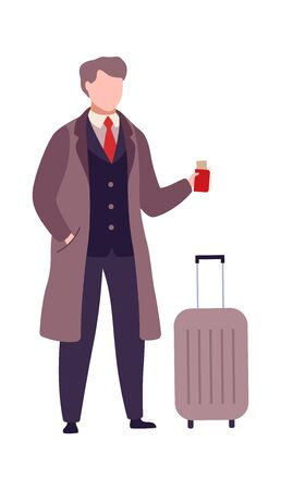 Man with suitcase and passport with boarding pass tickets. Cartoon buisnessman in airport terminal. Passenger going on plane or train. Flat vector illustration isolated on white background