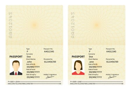 Male and female open passports. Vector identity document. Id with person photo and text. Personal information and pictures of man and woman in flat style