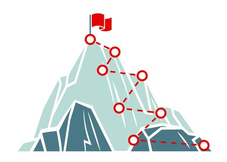 Mountain climb path. Business success concept. Climbing route to peak. Outdoor activities trekking or hiking. Road to goal, victory, Flat vector minimalistic illustration