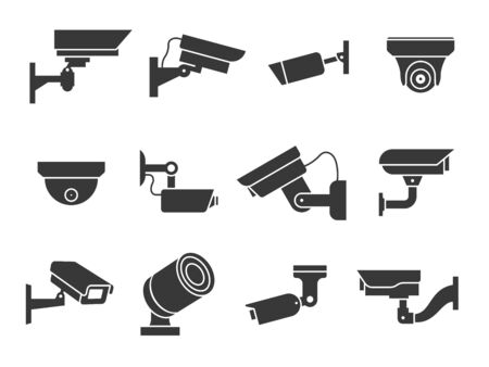 Cctv icons. Security camera, guard equipment video surveillance for street, home and building, private and industry observe warning crime, digital safety vector signs