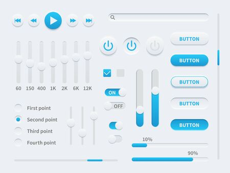 White ui. User interface elements in blue and white for mobile app, websites, social media display buttons, sliders and selectors, switches set vector illustration template