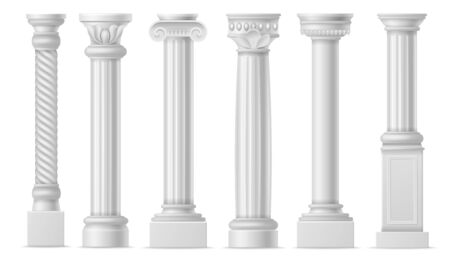 Realistic column. Classic antique white columns, roman historical stone pillars, marble pillar ancient greece architecture colonnade vector isolated elements set