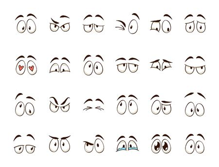Cartoon eyes. Comic character eye and eyebrow expressions smiling, crying and surprised. Caricature doodle emotions or emoticon. Isolated vector illustration icons set Illusztráció
