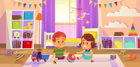 Baby room. Children boy and girl play on the floor children toys, family lifestyle kid playroom, kindergarten or preschool concept. flat cartoon vector illustration Illusztráció