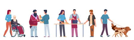 People volunteer. Volunteering and supporting people, social workers help elderly and sick people walk, food cooking ride wheelchair vector cartoon isolated set Illustration