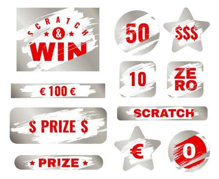 Scratch card. Scratches with brush effect suitable for instant prize game. Lottery silver win ticket, gambling coupon vector metallic texture collection