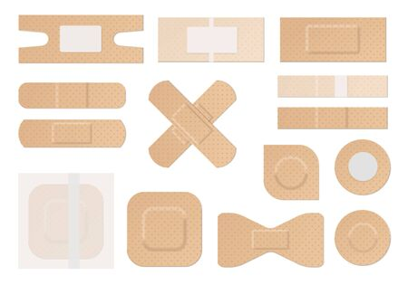 Medical plaster. Realistic water resistant perforated medical plasters, first aid plastic adhesive tape round rectangular forms, protaction and care vector set