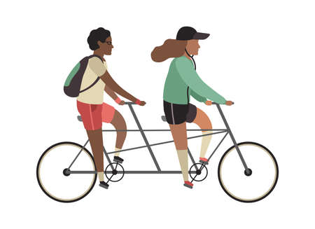 Cyclists concept. Happy people ride tandem bike. Outdoor activities in park, couple healthy lifestyle, man and woman riding twin bicycle. Flat vector cartoon isolated illustration