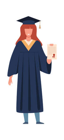 Graduated student. Happy girl with diploma or certificate wearing academic gown and hat, graduation from college or university. Flat vector cartoon isolated illustration 向量圖像