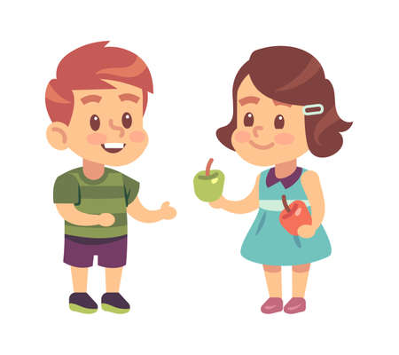 Kids good manners. Cartoon girl shares apple with boy, children respectful and thankful behavior, symbol of friendship and etiquette. Flat vector illustration isolated on white background
