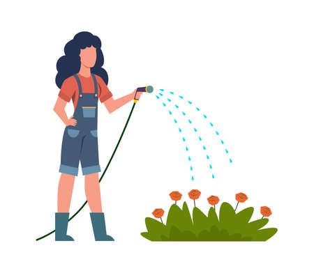 Woman watering flowers in garden. Colorful female character gardener with hose takes care of growing plants outdoor. Flat cartoon vector isolated illustration