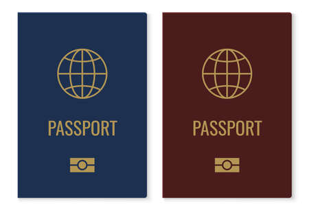 Passport covers with map. Realistic red and blue international identification document, citizen official ID with golden globe. Vector isolated on white elements
