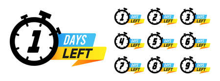 Countdown sign. Days left to go sale marketing badges, labels with alarm clock numbers, offer promotion deal timer. Simple flat vector illustration