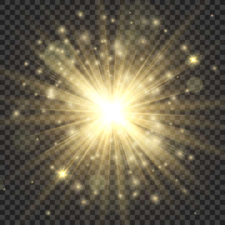 Gold glowing star. Abstract stylish bright light effect, golden shiny luminous dust and glares, blurring starlight, magic sparkle. Vector illustration isolated on transparent background