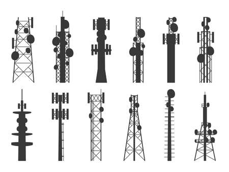 Radio tower silhouettes. Transmission cellular towers, television, internet and broadcasting antenna, satellite signal telecom masts. Vector isolated set