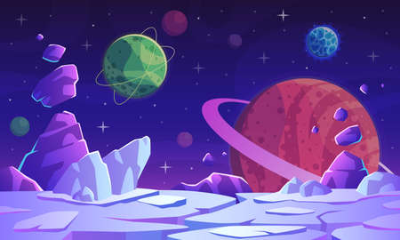 Fantasy space scene. Extraterrestrial landscape with colorful vivid planets, craters, stars and comet fantastic mystery world, game vector futuristic background