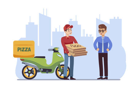 Customer delivery character. Courier handing pizza in box to client on cityscape background, express food shipping on moped or scooter, flat cartoon vector illustration