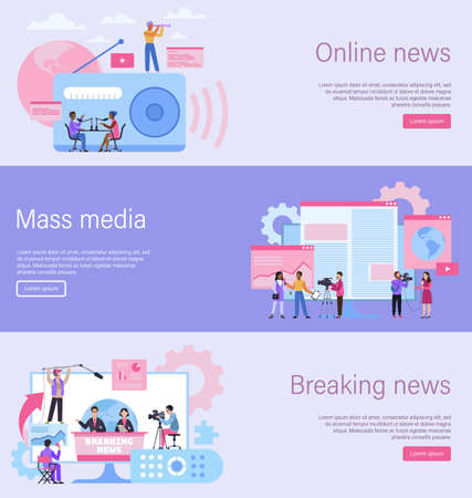 Journalist landing page. Online news banner, mass media website, breaking news content. Recording interview with camera. Radio television and newspaper digital web template, vector flat illustration