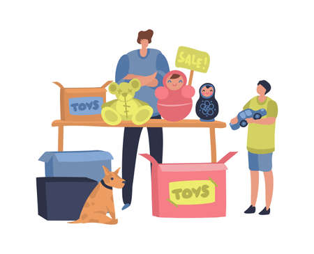 Flea market concept. Man and child sell or swap clothing, toys and vintage goods. Cheap garage sale, second hand shop, retail business outdoors. Flat cartoon isolated concept