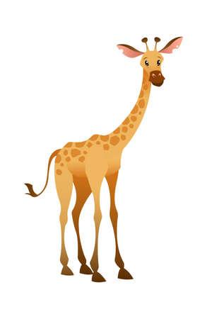Jungle wild giraffe. Colorful beautiful safari, circus or zoo cartoon animal, wildlife trendy exotic childish print, african fauna. Vector single isolated illustration Ilustracja