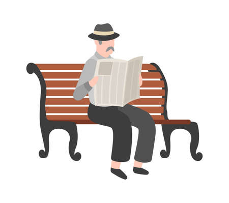 Old men reading newspaper outdoor, grandfather with mustache in hat and suit sits on bench, gentleman walk in park. Flat vector isolated cartoon character