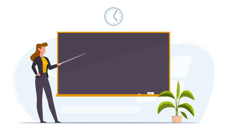 Teacher in classroom near chalkboard conduct lesson. Cartoon flat women with pointer teaching, young professor at university or college giving lecture or seminar, education vector concept