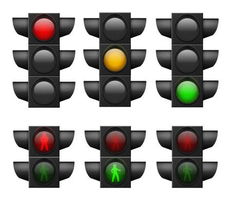 Realistic traffic light. Led lights red, yellow and green, crosswalk and road safety, control accidents, signals street regulation system vector set isolated on white background