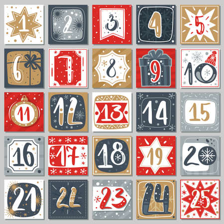 December advent calendar. Christmas poster countdown printable tags numbered poster with xmas ornament red blue and gold colors, winter postcard vector creative template Ilustracja