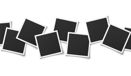 Photo collage. Realistic square frames composition, empty montage template design, memory album, vector illustration isolated on white background