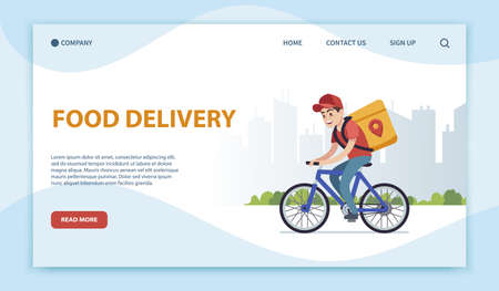 Food delivery landing page. Cyclist with box on background of cityscape, riding on road to client, express shipping parcel, flat vector young cartoon character