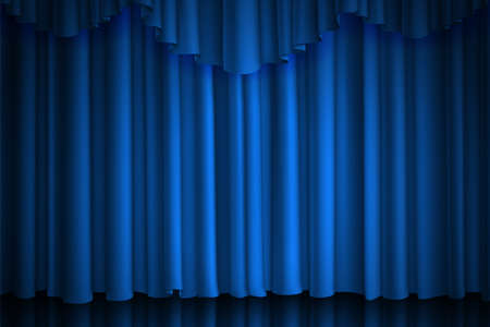 Blue curtain. Theater, cinema or circus scene drape luxury silk or velvet closed stage background with spot of illumination, vector realistic fabric drapes