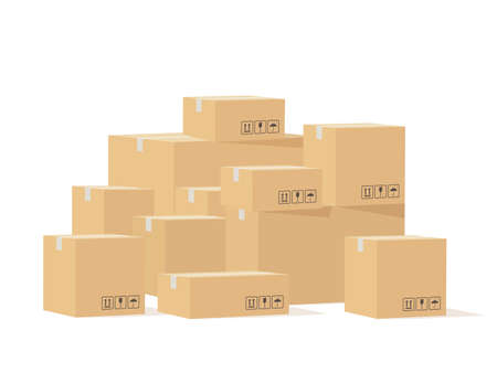Box pile. Cardboard boxes different size with fragile signs, shipping goods carton package, stockpile cargo storage, industry shipment, delivery vector isolated concept