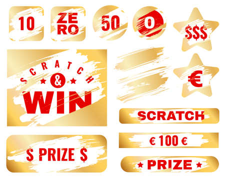 Golden scratch card. Lottery cover for instant win game prize. Winning or lose chance, luck coupon, scrape ticket, ripped effect marks with gold metallic vector textures