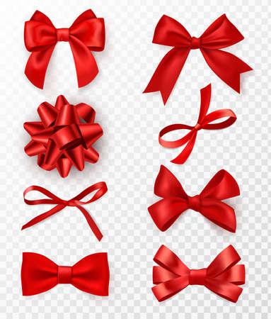Decorative bows. Realistic red silk ribbons with bow festive decor satin rose, luxury elements for holiday packaging and design, elegant gift tape 3d vector set isolated on transparent background