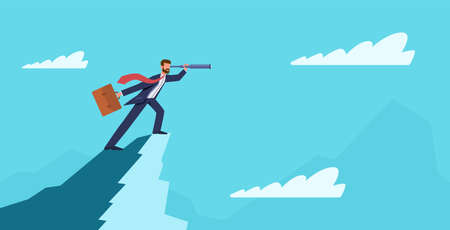 Business vision. Businessman on mountain peak with telescope. Success new idea, business startup, visionary forecast, leadership and ambition symbol, flat vector cartoon concept