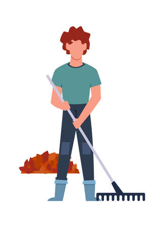 Gardener performs seasonal work. Male young character collects fallen leaves in bunch with rake, autumn farm garden work, cartoon flat isolated character