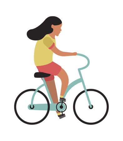 Girl riding bicycle. Simple young character cyclist teenager rides on bike. Outdoor activities in park, healthy leisure lifestyle. Flat cartoon isolated illustration Ilustração