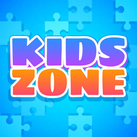 Kids zone. Colorful playing park, playroom or game area. Playground for children purple and orange emblem or sticker with blue text and puzzles.