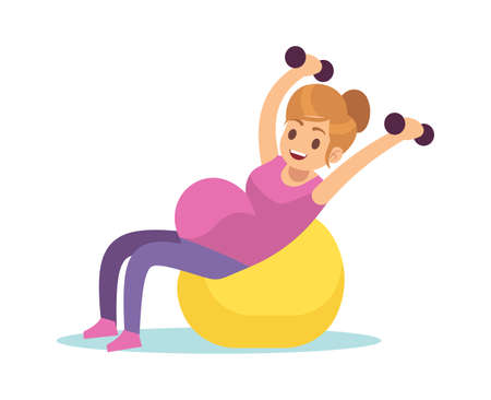 Pregnant woman doing exercises. Female fitness, yoga or gymnastics with fitball and dumbbell, health care and sport during pregnancy concept, cartoon flat vector isolated character Ilustração
