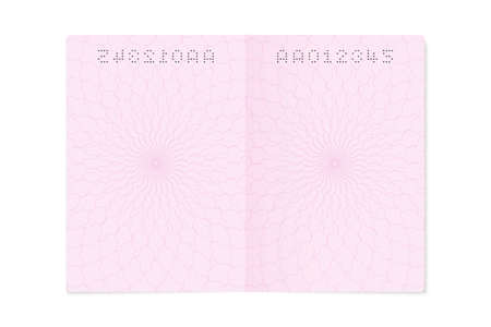 Blank open passport page. Empty sheet with number, closeup citizen identity document template, isolated illustration