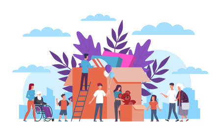Volunteers. Team supporting disabled, humanitarian and material assistance, community helping old and sick people, donation food and clothes, charity concept Illustration