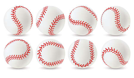 Baseball ball. Leather white softball with red lace stitches in different angles, sport equipment for game. Athletic balls with seams realistic vector set