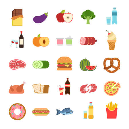 Flat food. Hamburger and bread, pizza and fruits, drinks. Vegetables, alcohol and meat, vine and water, seafood, takeaway, unhealthy eating cartoon isolated colored icons set
