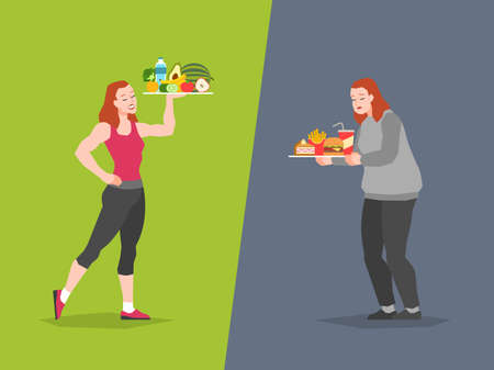 Healthy and unhealthy food choice. Fast food vs balanced menu comparison calories, female dieting and healthy eating, bad or good choose, vector concept