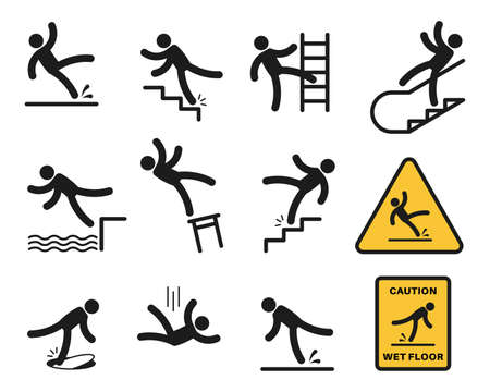 Falling people. Simple silhouette unbalanced people injury slipping on wet floor, tripping. Drop from altitude, fall down stairs and over edge, hazard, warning sign isolated set