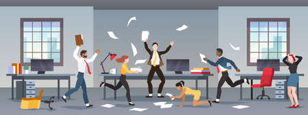 Office panic. Corporate business problems, collapse career. Chaos in workplace with employees. Men and women in company in stress, nervous angry people. Financial crisis, recession flat vector concept Ilustração