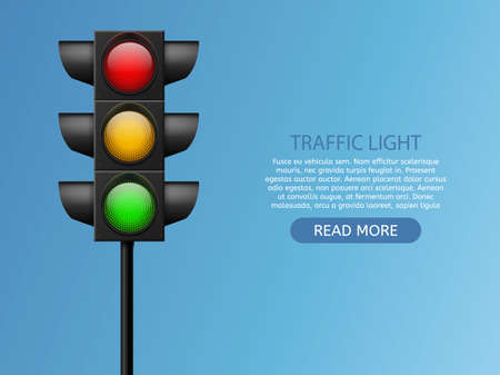Traffic light. Realistic led lights red, yellow and green, crosswalk and road safety, control accidents, signals street regulation system vector set isolated on white background with copy space